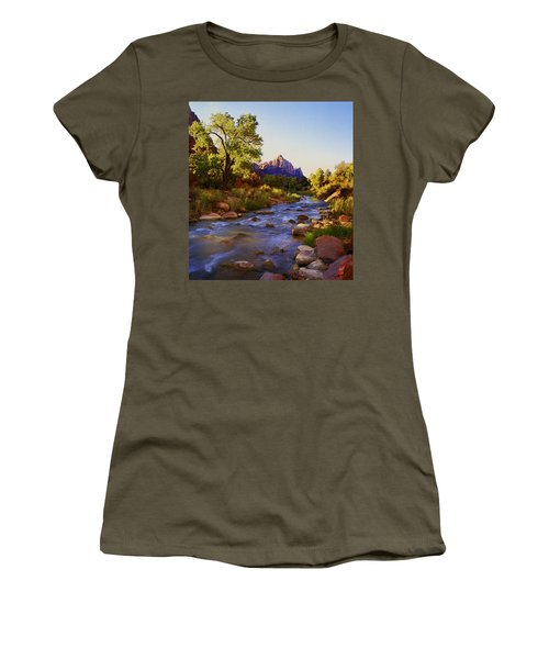 Early Morning Sunrise Zion N.p. Women's T-Shirt (Junior Cut) by Rich Franco