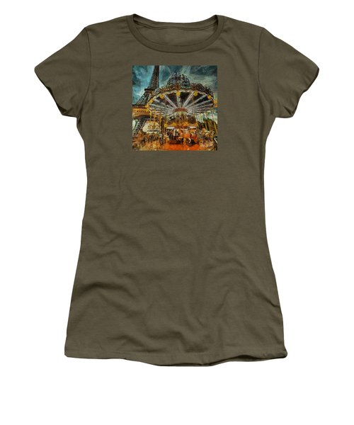 Women's T-Shirt (Junior Cut) featuring the painting Eiffel Tower Carousel by Dragica  Micki Fortuna