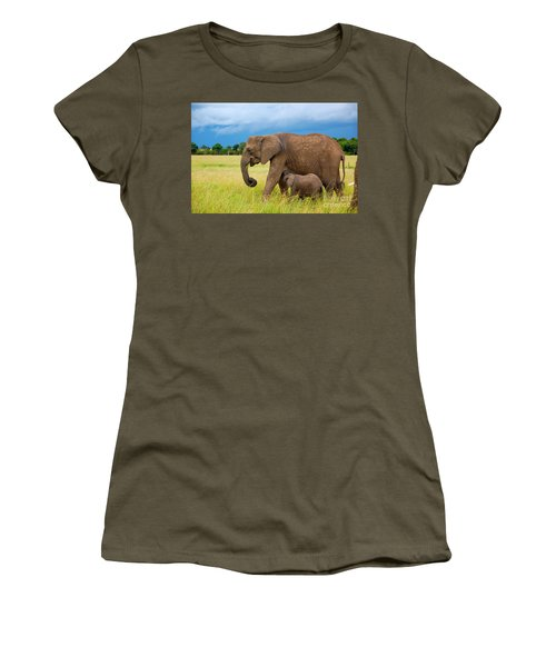 Elephants In Masai Mara Women's T-Shirt (Athletic Fit)