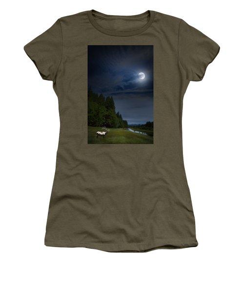Elk Under A Full Moon Women's T-Shirt