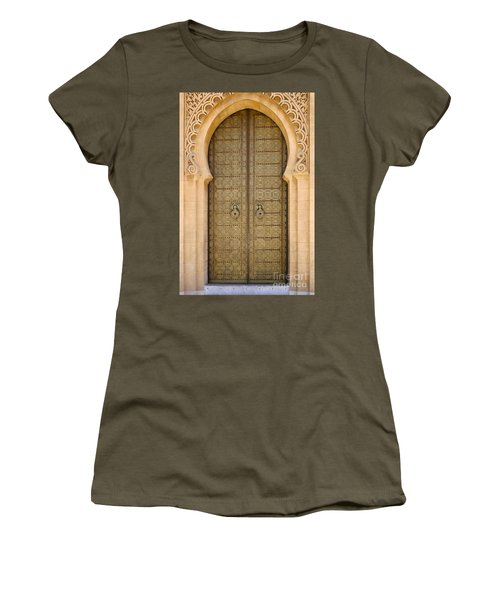 Women's T-Shirt (Junior Cut) featuring the photograph Entrance Door To The Mausoleum Mohammed V Rabat Morocco by Ralph A  Ledergerber-Photography