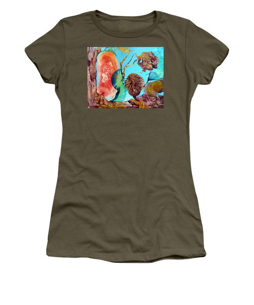 Women's T-Shirt (Junior Cut) featuring the painting Ernsthaftes Spiel Im Innerem Erdteil by Otto Rapp