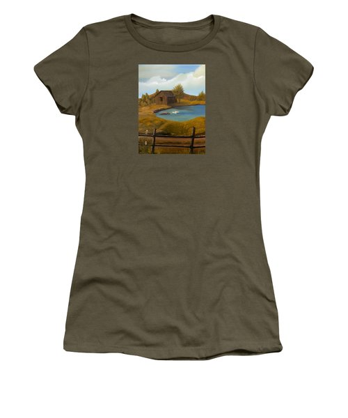 Women's T-Shirt (Junior Cut) featuring the painting Evening Solitude by Sheri Keith