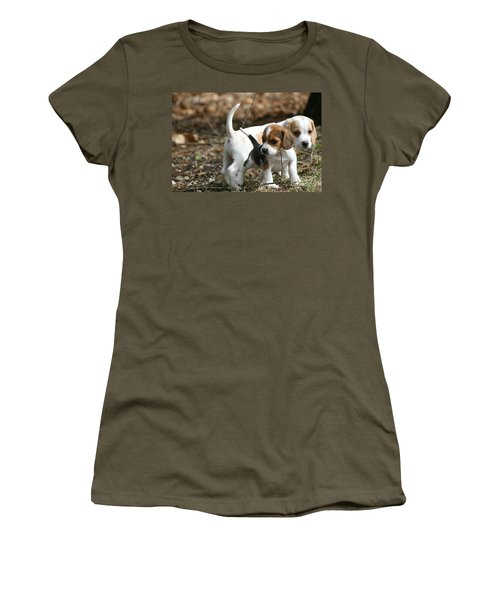 Exploring Beagle Pups Women's T-Shirt (Junior Cut) by Neal Eslinger