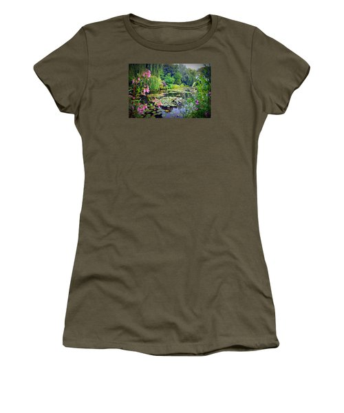 Fairy Tale Pond With Water Lilies And Willow Trees Women's T-Shirt (Junior Cut) by Carla Parris