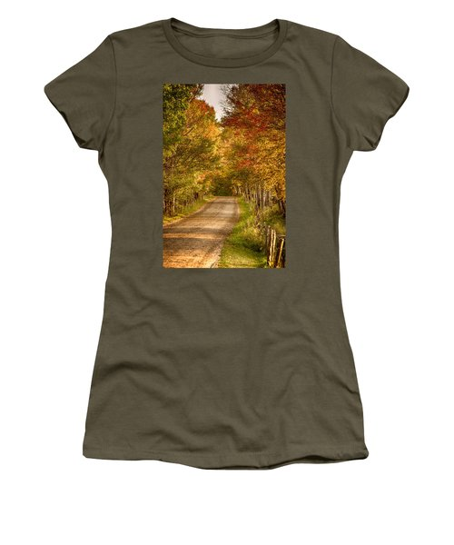 Women's T-Shirt (Junior Cut) featuring the photograph Fall Color Along A Peacham Vermont Backroad by Jeff Folger