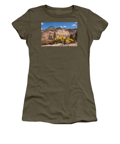 Women's T-Shirt (Junior Cut) featuring the photograph Fall Season At Zion National Park by John M Bailey