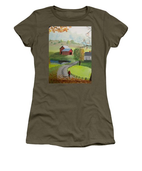Women's T-Shirt (Junior Cut) featuring the painting Fall Walk by Norm Starks