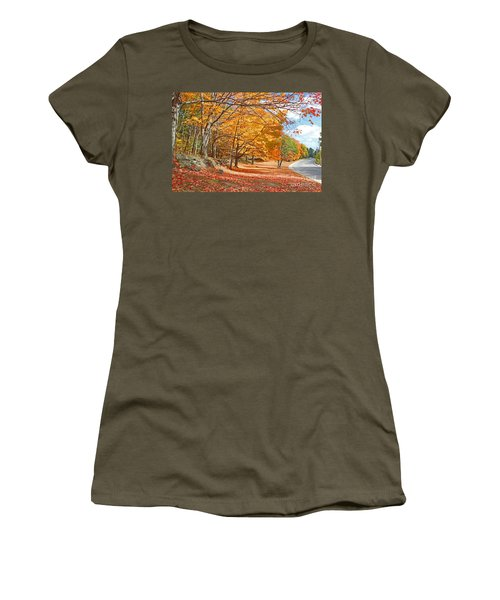 Women's T-Shirt (Junior Cut) featuring the photograph Falling Leaves On The Road To Bentley by Rita Brown