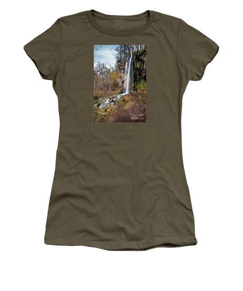 Falling Springs Fall Women's T-Shirt (Junior Cut) by Debbie Green