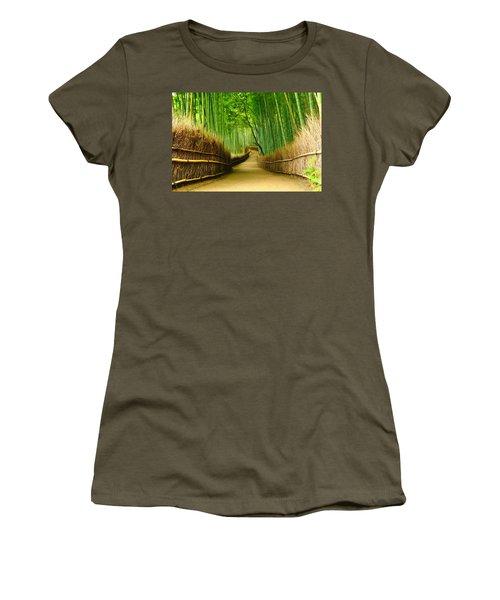 Famous Bamboo Grove At Arashiyama Women's T-Shirt (Junior Cut) by Lanjee Chee