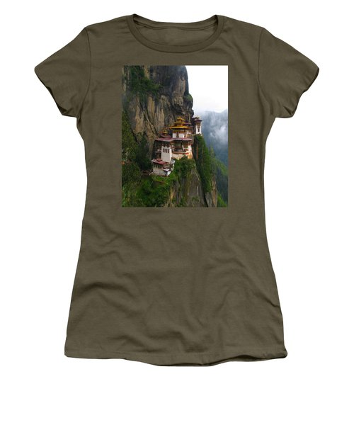Famous Tigers Nest Monastery Of Bhutan Women's T-Shirt (Junior Cut) by Lanjee Chee