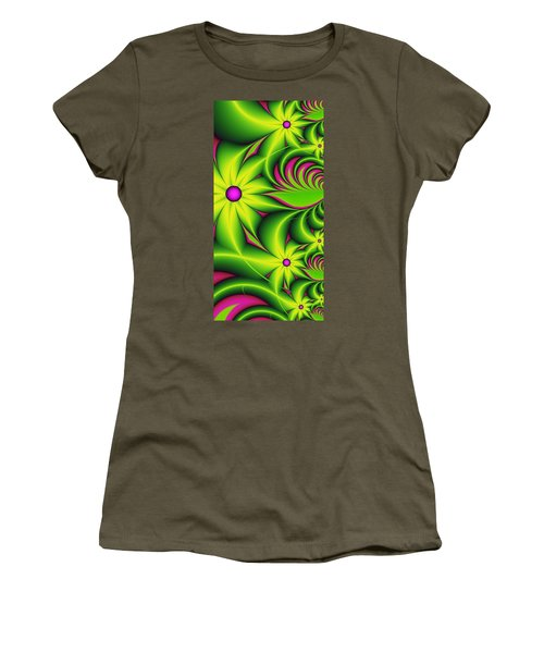 Women's T-Shirt (Junior Cut) featuring the digital art Fantasy Flowers by Gabiw Art