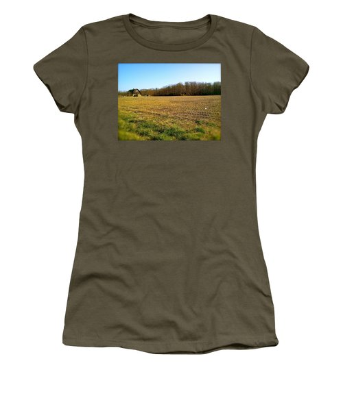 Farm Field With Old Barn Women's T-Shirt (Athletic Fit)