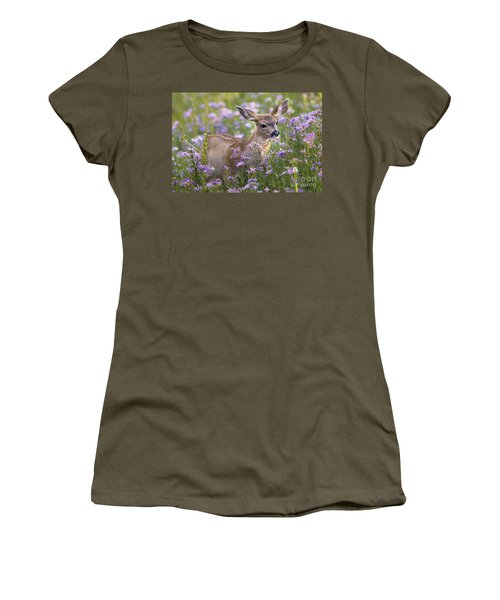 Fawn In Asters Women's T-Shirt (Athletic Fit)