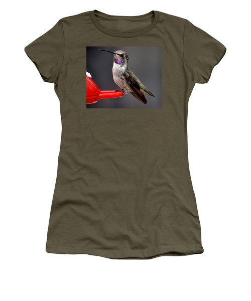 Women's T-Shirt (Junior Cut) featuring the photograph Female Anna's Hummingbird On Perch Posing For Her Supper by Jay Milo