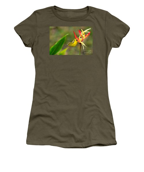 Female Olive Backed Sunbird Clings To Heliconia Plant Flower Singapore Women's T-Shirt (Junior Cut) by Imran Ahmed