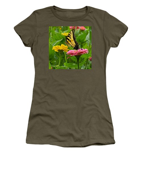 Female Tiger Swallowtail Butterfly With Pink And Yellow Zinnias Women's T-Shirt