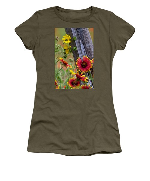 Fenceline Wildflowers Women's T-Shirt (Junior Cut) by Robert Frederick