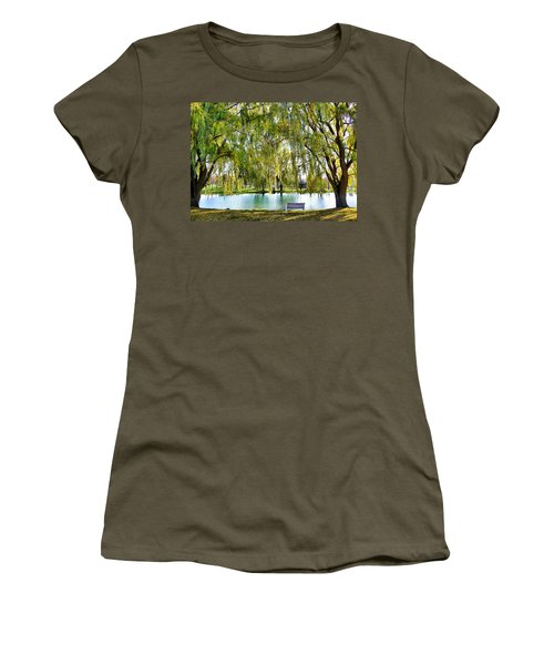 Women's T-Shirt (Junior Cut) featuring the photograph Finger Lakes Weeping Willows by Mitchell R Grosky