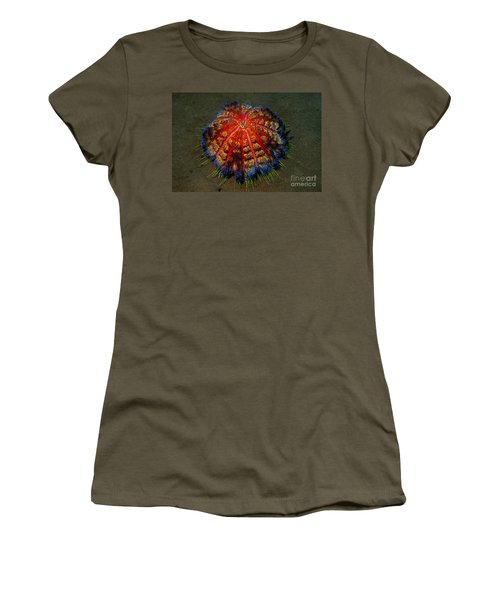 Fire Sea Urchin Women's T-Shirt (Junior Cut) by Sergey Lukashin