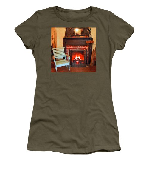 The Family Hearth - Fireplace Old Rocking Chair Women's T-Shirt (Junior Cut) by Rebecca Korpita