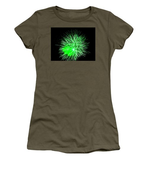 Women's T-Shirt (Junior Cut) featuring the photograph Fireworks In Green by Michael Porchik