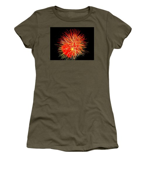 Women's T-Shirt (Junior Cut) featuring the photograph Fireworks In Red And Yellow by Michael Porchik
