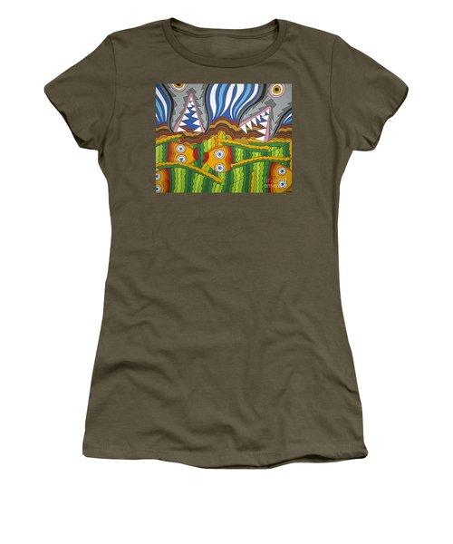 Fish Dinner Women's T-Shirt (Junior Cut) by Rojax Art