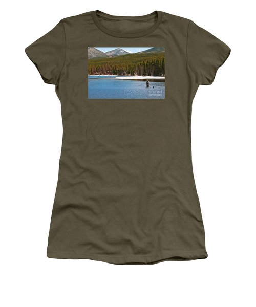 Women's T-Shirt featuring the photograph Fishing In Winter by Mae Wertz