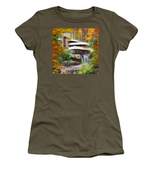 Fixer Upper - Square Version - Frank Lloyd Wright's Fallingwater Women's T-Shirt (Athletic Fit)