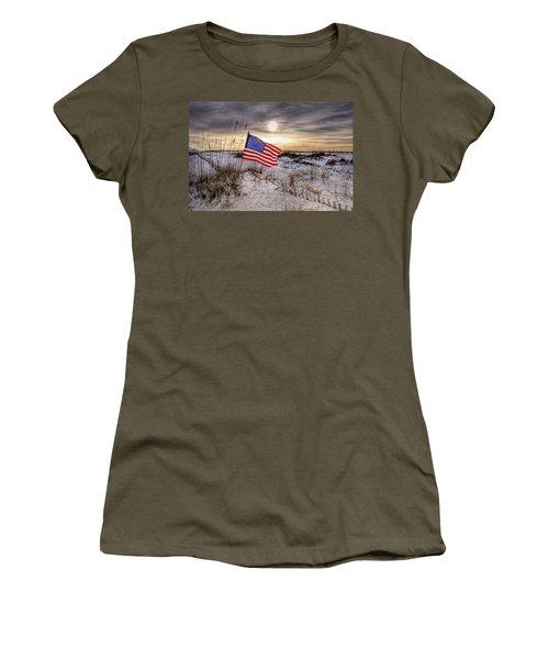 Flag On The Beach Women's T-Shirt