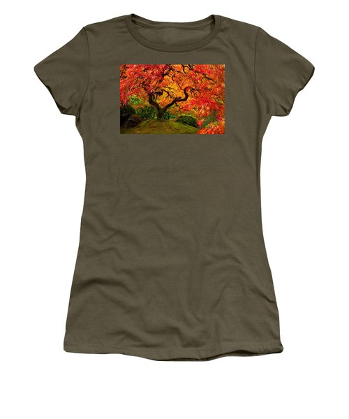 Flaming Maple Women's T-Shirt (Athletic Fit)