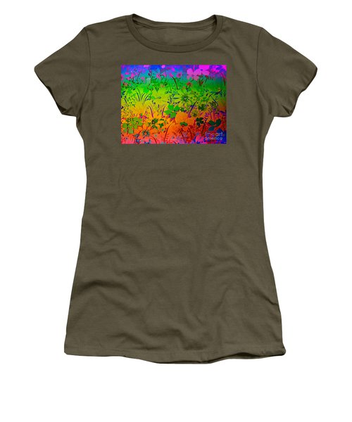 Women's T-Shirt (Junior Cut) featuring the photograph Floral Rainbow by Judy Palkimas
