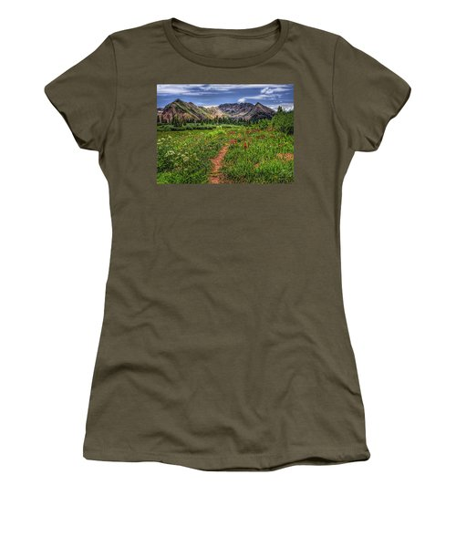 Women's T-Shirt (Junior Cut) featuring the photograph Flower Walk by Priscilla Burgers