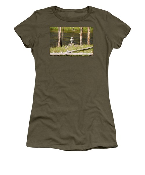 Women's T-Shirt (Junior Cut) featuring the photograph Fly Fishing by Mary Carol Story