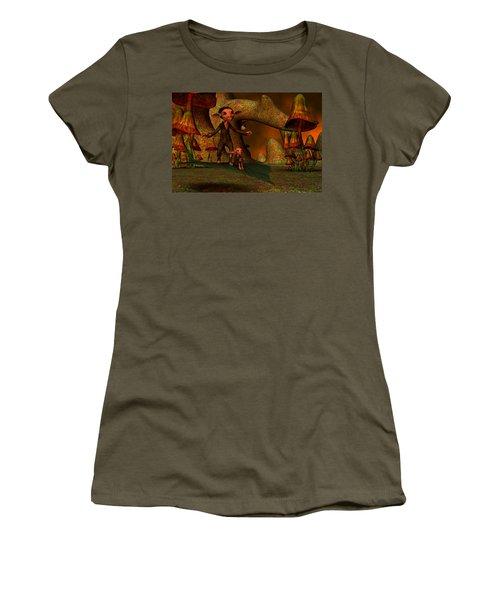 Women's T-Shirt (Junior Cut) featuring the digital art Flying Through A Wonderland by Gabiw Art