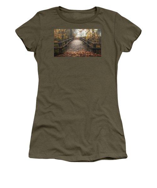 Foggy Lake Park Footbridge Women's T-Shirt