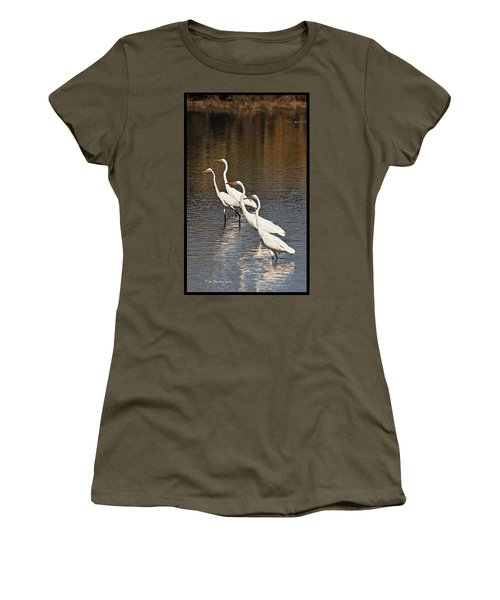 Women's T-Shirt (Junior Cut) featuring the photograph Four Egrets Fishing by Tom Janca