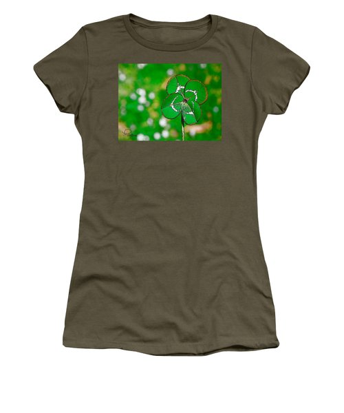 Women's T-Shirt featuring the digital art Four Leaf Clover by Ludwig Keck