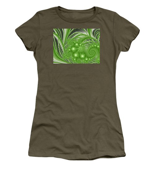 Fractal Abstract Green Nature Women's T-Shirt (Athletic Fit)