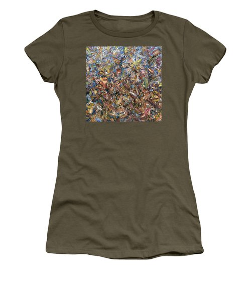 Women's T-Shirt (Junior Cut) featuring the painting Fragmented Fall - Square by James W Johnson