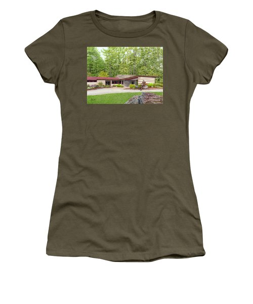 Women's T-Shirt (Junior Cut) featuring the painting Frank Lloyd Wright At Duncan House by Albert Puskaric