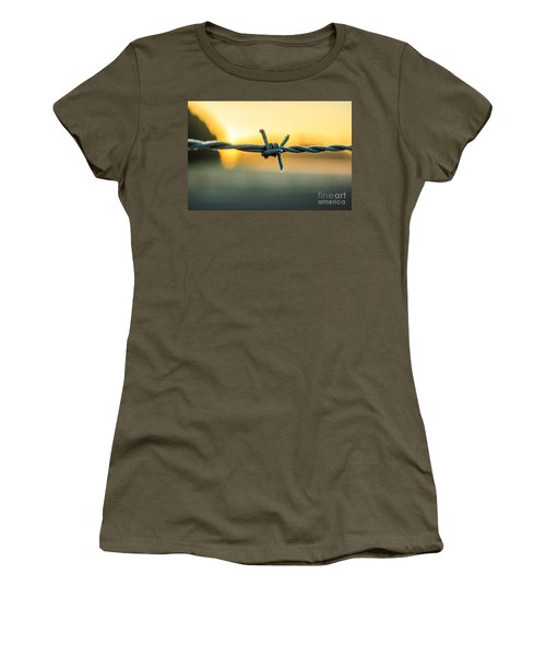 Frost On Barbed Wire At Sunrise Women's T-Shirt