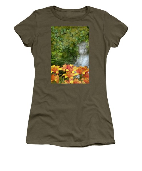 Women's T-Shirt (Junior Cut) featuring the photograph Garden Girl And Orange Lilies Digital Watercolor by Sandra Foster