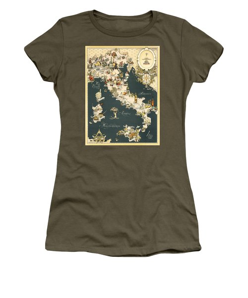 Gastronomic Map Of Italy 1949 Women's T-Shirt