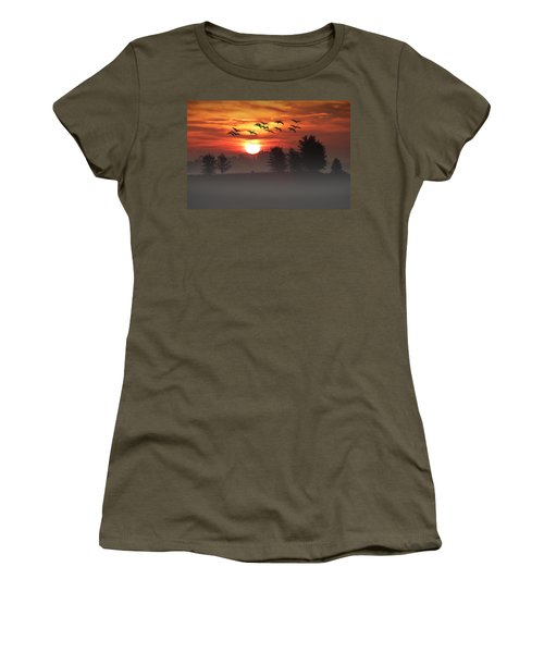 Geese On A Foggy Morning Sunrise Women's T-Shirt