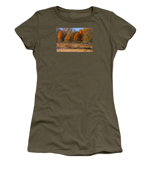 Women's T-Shirt (Junior Cut) featuring the photograph Gettysburg At Rest - Autumn Looking Towards The J. Weikert Farm by Michael Mazaika