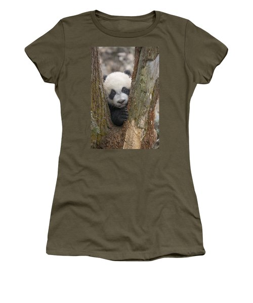 Women's T-Shirt featuring the photograph Giant Panda Cub Bifengxia Panda Base by Katherine Feng