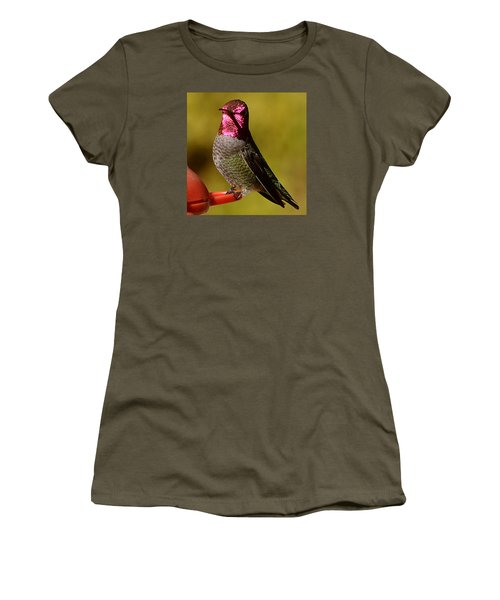 Women's T-Shirt (Junior Cut) featuring the photograph Glimmering Red Headed Mail Anna by Jay Milo